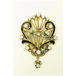 14K Yellow Gold, Enamel, & Opal Brooch