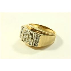 14K Yellow Gold & Diamond Mens Ring