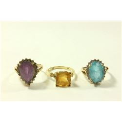 2-10K Gold & 1-14K Yellow Gold & Gemstone Rings
