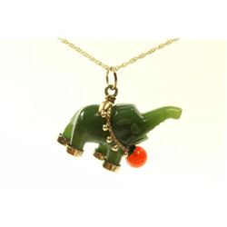 Jade Elephant Wearing Coral Pendant