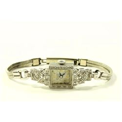 14K White Gold & Diamond Art Deco Ladies Watch