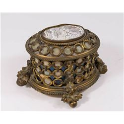 Late 19th/Early 20th C. Bronze, Enamel & Cameo Box