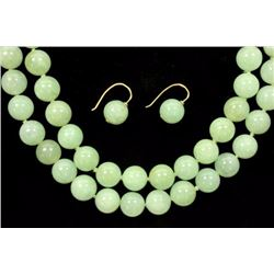 Double-Strand Jade Beads & Pair Jade Bead Earrings
