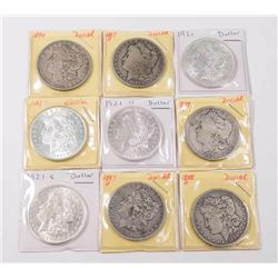 Lot of 9 Morgan Dollars