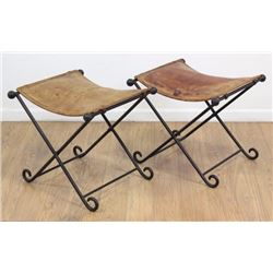 Pair Wrought Iron & Leather Folding Benches