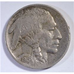 1915-S BUFFALO NICKEL, XF TOUGH COIN
