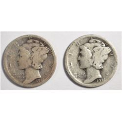 (2) 1921 MERCURY DIMES, GOOD -KEY DATE