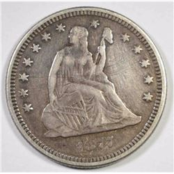 1877 SEATED LIBERTY QUARTER VF