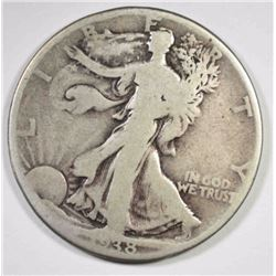 1938-D WALKING LIBERTY HALF DOLLAR, VG -KEY