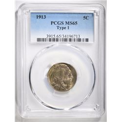 1913 TYPE-1 BUFFALO NICKEL, PCGS MS-65