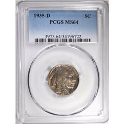 1935-D BUFFALO NICKEL, PCGS MS-64