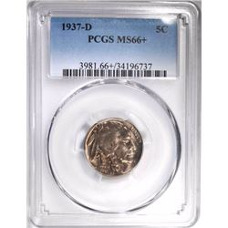 1937-D BUFFALO NICKEL, PCGS MS-66+
