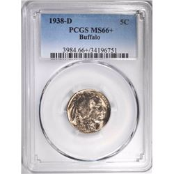 1938-D BUFFALO NICKEL, PCGS MS-66+