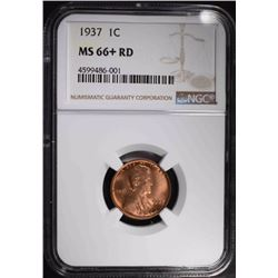 1937 LINCOLN CENT, NGC MS-66+ RED