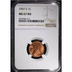 1947-S LINCOLN CENT, NGC MS-67 RED