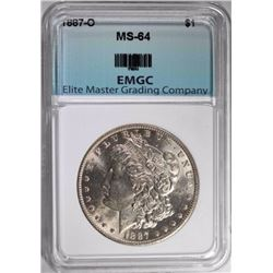 1887-O MORGAN DOLLAR, EMGC CH/GEM BU