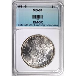 1891-S MORGAN DOLLAR, EMGC CH/GEM BU