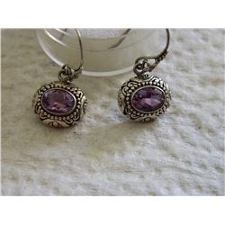 EARRINGS  - AMETHYST IN VICTORIAN DESIGN STERLING SILVER SETTING - FRENCH HOOKS - STAMPED 925