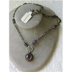 NECKLACE -- AMETHYST GEMSTONE PENDANT ON STERLING SILVER CHAIN  - STAMPED 925 - WITH AMETHYST ACCENT