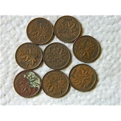 PENNIES - SET OF 8 -1941, 42, 43, 44, 45,46,47,49