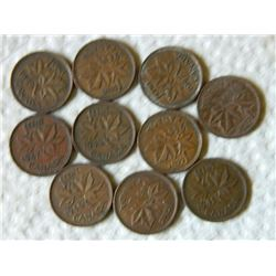 PENNIES - SET OF 10 - 1941, 43, 45, 46(3), 47(2), 49 & 69
