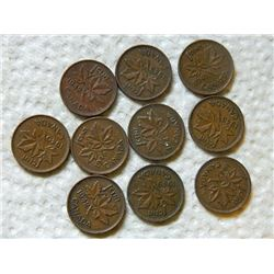 PENNIES - SET OF 10 - 1940,41,42,43(3),45,46,47,49