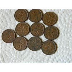 PENNIES - SET OF 10 - 1943. 45, 47, 50, 51 & 52(5)