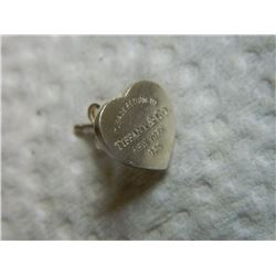 EARRING /BODY JEWELRY - SINGLE PIECE - TIFFANY & CO. - STERLING SILVER HEART DESIGN - AND ENGRAVED ""