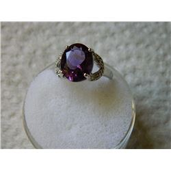 RING - 4.05 CT OVAL FACETED AMETHYST & DIAMOND IN STERLING SILVER SETTING - RETAIL ESTIMATE $450