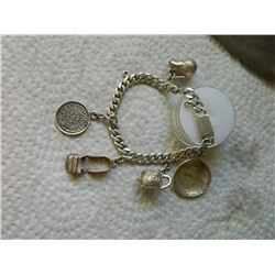 BRACELET - SILVER - WITH CHARMS - 28gm