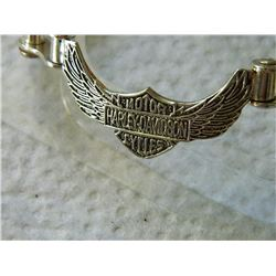BRACELET - HARLEY DAVIDSON - STERLING SILVER BIKE CHAIN DESIGN - TOGGLE CLASP - STAMOED 925 - 36gm