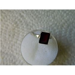 RING -PRINCESS FACETED RICH RED GARNET(9.1 X 7.1mm ) IN STERLING SILVER SOLITAIRE SETTING - RETAIL E