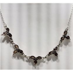 ***** FEATURE ITEM**** NECKLACE - 15 PEAR FACETED SMOKEY TOPAZ  IN BEAUTIFUL 925 STERLING SILVER SET