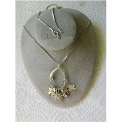 "NECKLACE - 7 CHARMS - CHAIN (23"") STAMPED VNS STG PENDANT STAMPED ""FM79 STERLING""  - CHARMS (BUTTERF"