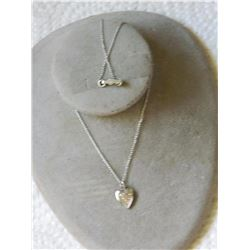 "NECKLACE - STAMPED ""MC STER"" - 12"" LONG - HEART PENDANT - FLOWER ENGRAVED"