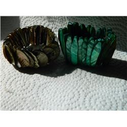 BRACELETS - 2 TTL -  ABALONE SHELL - GREEN & BROWN SOME CHIPS