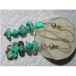 EARRINGS - TOURQUISE ON 295 STERLING SILVER SHEPARD HOOKS - FROM ESTATE