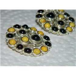 VINTAGE EARRINGS - STAMPED 925 - BAZEL SET CABACHON GARNETS & PEARLS (not authenticated)(could be ce
