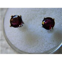 EARRINGS - NEW 2 TCW ROUND FACETED GARNETS IN STERLING SILVER SETTING - POST & BUTTERFLY BACKING