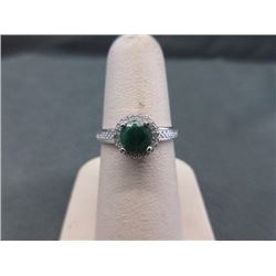 RING - ROUND FACETED EMERALD & DIAMOND IN STERLING SILVER SETTING - RETAIL ESTIMATE $400