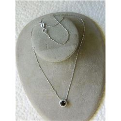 NECKLACE - 1.0CT ROUND FACETED SMOKEY TOPAZ & ROUND FACETED DIAMOND IN STERLING SILVER SETTING - RET