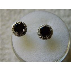 EARRINGS - ROUND FACETED SMOKEY TOPAZ & ROUND FACETED DIAMOND  IN STERLING SILVER SETTING - RETAIL E