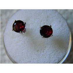 EARRINGS - NEW 2.1CTW ROUND FACETED RICH RED BROWN GARNET IN STERLING SILVER SETTING - RETAIL ESTIMA