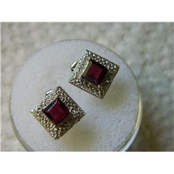 EARRINGS - NEW PRINCESS FACETED GARNET & 2 ROUND FACETED DIAMONDS IN STERLING SILVER SETTING - RETAI