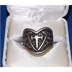 RING - CRUSADER CROSS & SHEILD SILVER RING