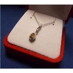 NECKLACE - PEAR FACETTED SAPPHIRE IN STERLING SILVER SETTING - INCLUDES CERTIFICATE $250