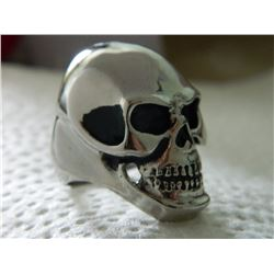 NEW RING - MAN'S SKULL RING - HIGHLY POLISHED STAINLESS STEEL - SUGGESTED RETAIL $150