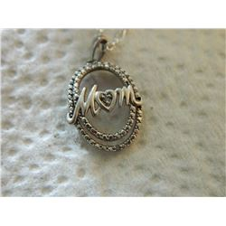 "NECKLACE - DIAMONDS IN 925 STAMPED STERLING SILVER OVAL DESIGNED SETTING - ""MOM"" - INCLUDEDS 925 STE"