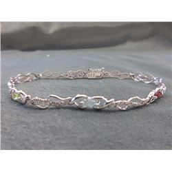 BRACELET - OVAL FACETED MULTI-GEMSTONES & ROUND FACETED DIAMOND IN STERLING SILVER TWIST STYLE DESIG