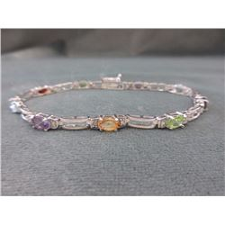 BRACELET - MULTI-GEMSTONE & DIAMOND IN STERLING SILVER WITH SCALLOP BOX DESIGNED LINKS  - INCLUDES C